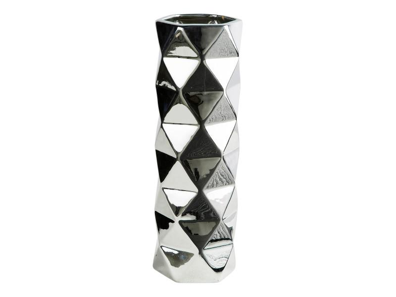 Vase H. 30 cm FACETTES Silver