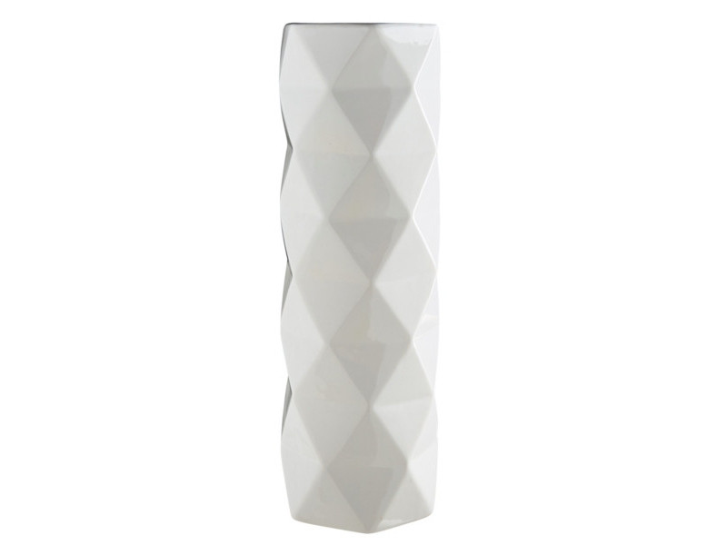Vase H. 30 cm FACETTES Blanc