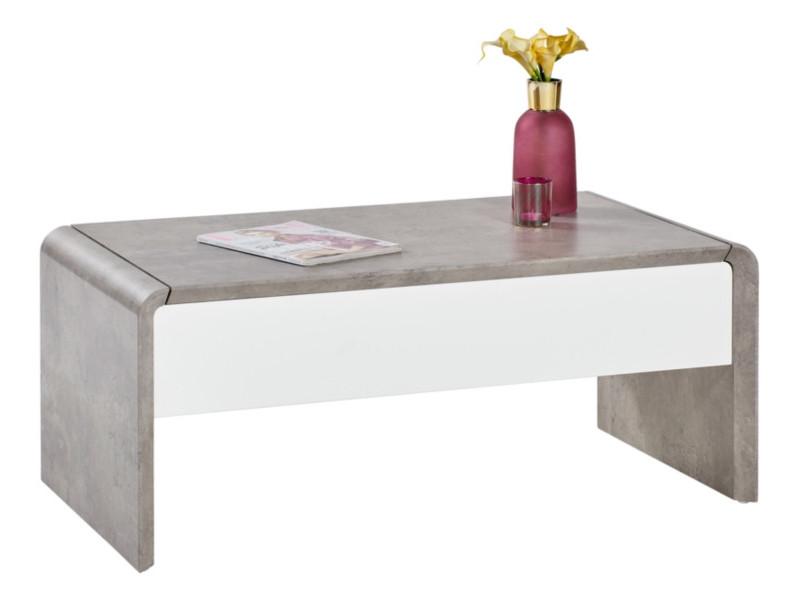 Table basse GIULIA Effet béton/blanc