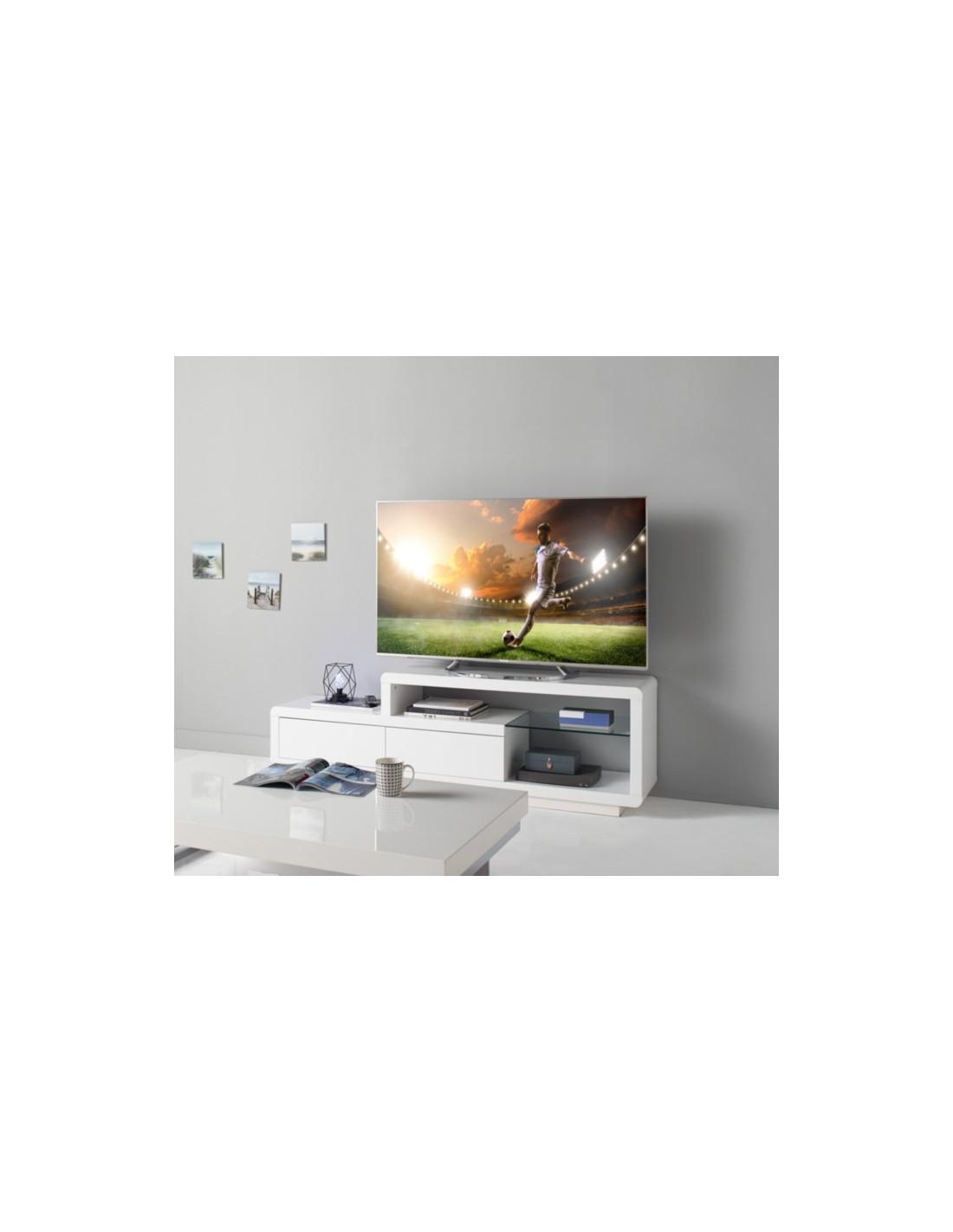 Meuble Tv Grande Taille meuble tv samson 2 blanc laqué - meuble tv but